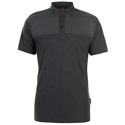 Pierre Cardin New Season Herren Leichte Geometrische Muster Gedruckt Panel Polo-Shirt (Large, Charcoal Marl)