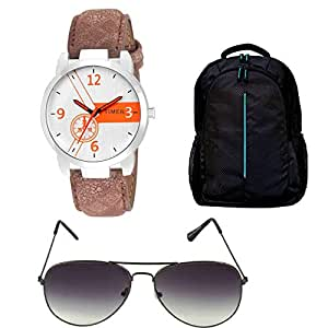 Timer Combo of Laptop Bag and Analog White Dial Watch with Sunglass for Men & Boys
