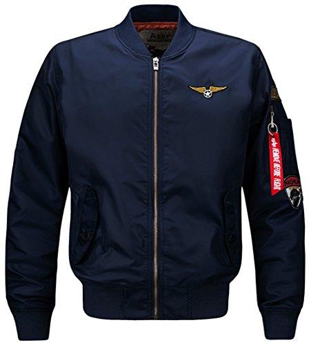 YYZYY Homme Classique Style rétro patches Flight Jacket Veste Bomber Pilot vol Flying Blousons 16 couleur XS-4XL 1616-bleu marine