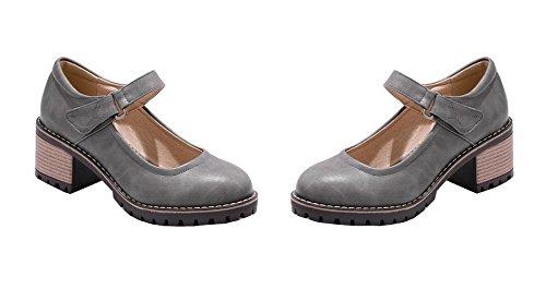 Chaussures VogueZone009 Légeres Femme Talon Velcro Unie Rond à Couleur Gris Correct Bq6Bp8x
