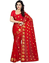 Ishin Chiffon Red Woven With Golden Butti Bollywood Women's Saree