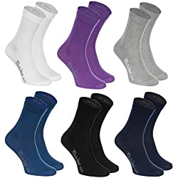 Rainbow Socks 6 paires de Chaussettes de Coton en couleur blanc, violet, gris, bleu marine, noir, bleu de jeans, le coton de haute qualité certifié avec Oeko-Tex, les tailles 39 40 41