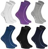 6 pares de Calcetines de algodón en colores: blanco, púrpura, gris, azul marino, negro, azul de vaqueros, algodón de alta calidad con Oeko-Tex certificado, tallas: 44 45 46