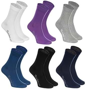6 paires de Chaussettes de Coton en couleur blanc, violet, gris, bleu marine, noir, bleu de jeans, le coton de haute qualité certifié avec Oeko-Tex, les tailles 36 37 38