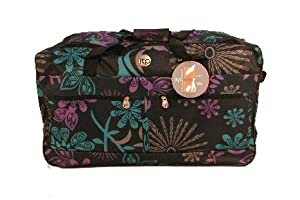 Wheeled Floral Medium Holdall Trolley Bag In Zodiac With Locking Telescopic Trolley Handle Side Top Carry Handles