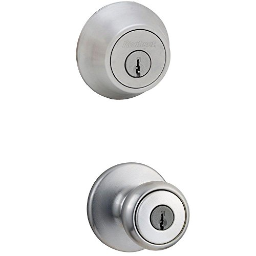 Kwikset 695 Tylo Entry Knob and Double Cylinder Deadbolt Combo Pack in Satin Chrome by Kwikset