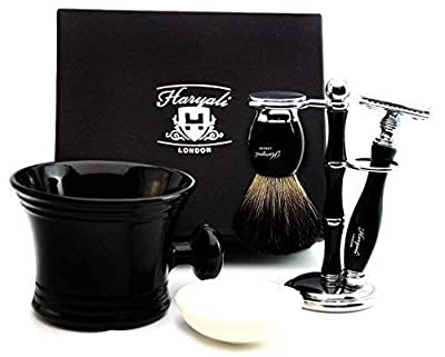 Pure Black Badger Hair Shaving Set In Black. The Set Contains Shaving Brush , De Safety Razor ( Blades Not Included), Shaving Brush & Razor Holder,Shaving Mug with soap. This Set is a Perfect Gift for HIM.