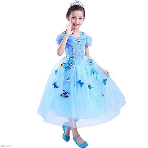 DDHZTA Halloween Cinderella Schneeweißes Kleid Mädchenkleider Weihnachts Leistung - Blue Cinderella Kleid Kostüm