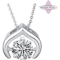 Trends World Rhodium Plated Most Popular Dancing Pendant with Chain Diamond Jewelry for Women