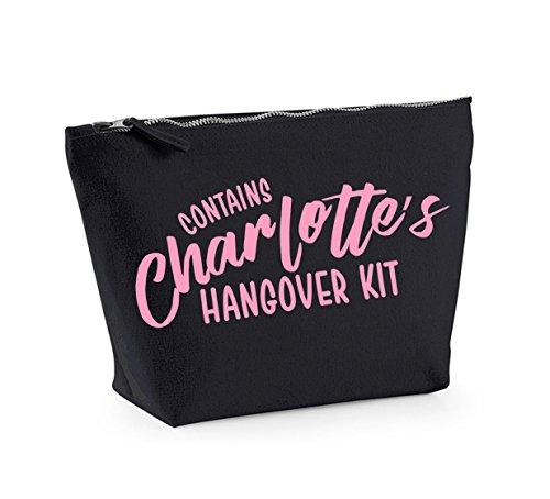 Hangover Kit - Personalised Name - Custom - Fun Slogan, Make Up and Cosmetics Bag, Accessory Organiser Black/pink