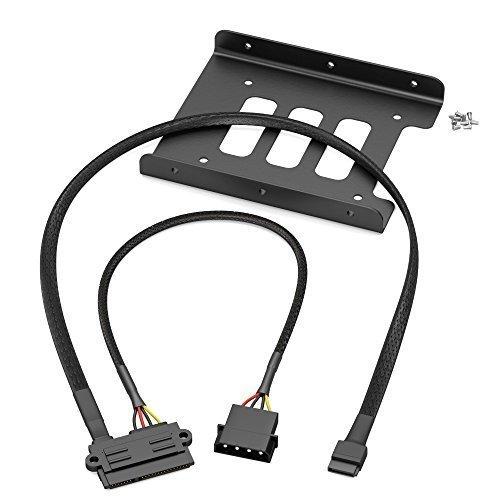 KabelDirekt - SSD/HDD Einbaurahmen - (22-Pin SATA auf 4-Pin Molex Stromkabel 30cm und 7-Pin SATA 3 Datenkabel 6 Gbit/s 60cm und 8x Schrauben (Kreuzschlitz)) -