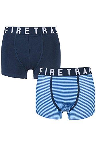Firetrap Mens 2er Covey Plain and Striped Cotton Boxer Shorts Kleine Navy / Blau