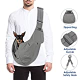 SlowTon Pet Carrier, Doggie Cat Hand Free Sling Carry Dog Papoose Carrie Adjustable Padded Shoulder Strap Tote Bag with Front Pocket Safety Belt Outdoor Travel Puppy Carrying for Walking Subway