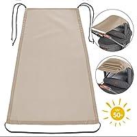 Zamboo Universal Sonnensegel - verstellbarer Kinderwagen Sonnenschutz mit UV Schutz 50| flexibles Sonnenverdeck für Babywanne - Beige