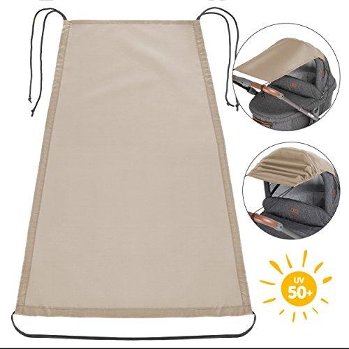 Zamboo Toldo / Protección solar universal para cochecitos, capazos y sillas de paseo | Parasol flexible con protección UV 50+ y función de persiana enrollable - Beige