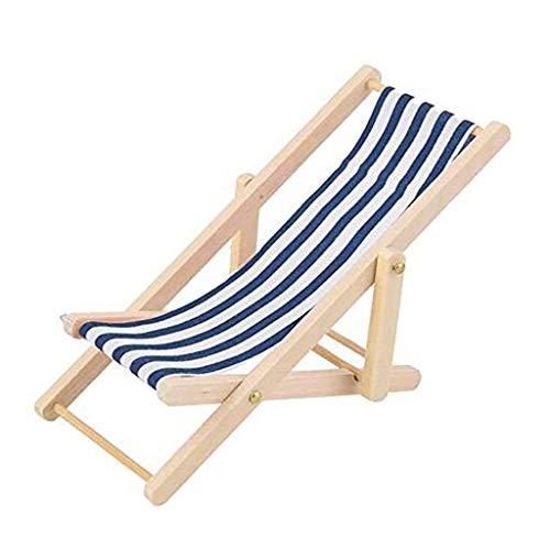 Ogquaton Chaise de plage rayée bleue miniature de qualité...