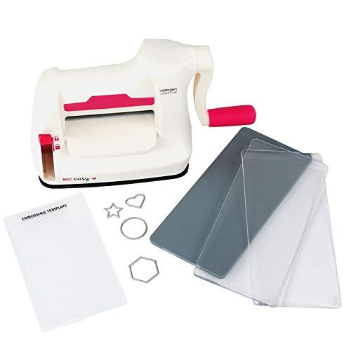 Vaessen Creative Mini Fustellatrice e Macchina per Goffratura Starter Kit, Bianco/Rosa, 12.5 x 21 x 9.5 cm,