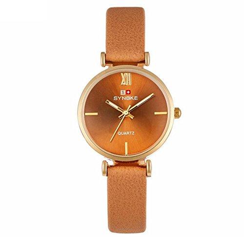 Leder Armband Damen Quarzuhr Einfache Mode , coffee - Face Dual Uhr Damen