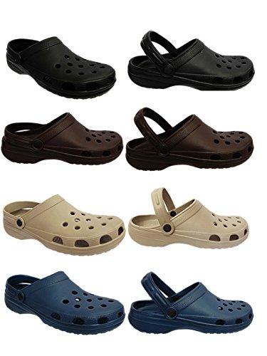 Foster Footwear ,  Jungen Unisex Erwachsene Mädchen Herren Damen Durchgängies Plateau Sandalen mit Keilabsatz Schwarz