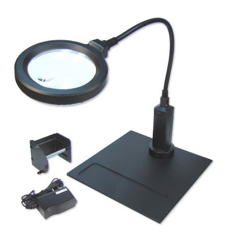 Carson CP-90 MagniFlex Pro 2X Standlupe mit 4X Spot, Magnetfuß, 16 LED inkl. Klemme für...