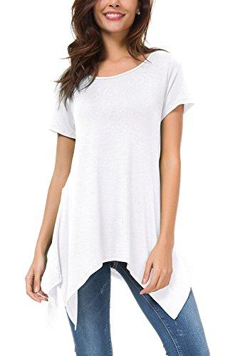 Urban GoCo Mujeres Casual Tallas Grandes Camiseta Camisa Manga Corta Pañuelo Dobladillo Túnica Top Blanco M