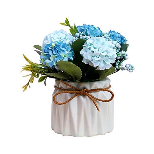 Xuxuou Künstliche Pflanze Blumentopf Topfpflanze Künstliche Töpfe Zimmerpflanzen Pflanzen Kunstpflanze Deko für Hochzeit Wohnzimmer Balkon Dekoration (Blau)