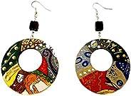 Orecchini dipinti a mano – SERPENTI D'ACQUA DI KLIMT - Orecchini pendenti da donna, Gioielli in legno dipinti