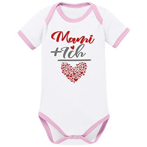 Mikalino Ringer Babybody Mama + Ich= 1000 Herzen 100% handbedruckt in Deutschland - bei 60 Grad waschbar - mit Spruch, Grösse:56, Farbe:weissrosa -