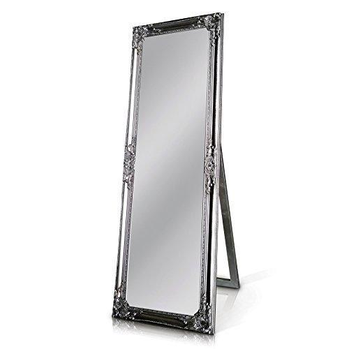 Silberner Shabby Chic Spiegel zum Hinstellen oder Aufhängen - Handgefertigt - Barock - Groß - 130x45 cm - Antik Silber - Facettenschliff