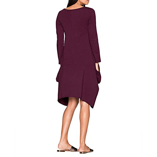 LOSORN ZPY Damen Unregelmäßige Pullikleid Langarm Longshirt Top Minikleid Oversize Lila