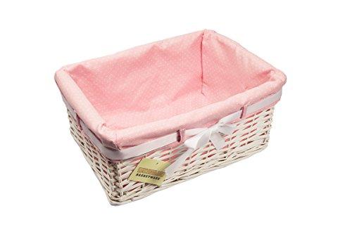 Woodluv Wäschekorb, rechteckig, 1 X Medium, Weidenkorb, Aufbewahrungskorb, mit rosa Punkten Auskleidung, Präsentkorb, Weidenkorb,) (Rosa Korb)