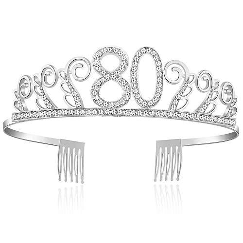 burtstag Tiara Birthday Crown Prinzessin Geburtstag Krone Haar-Zusätze Rosa oder Silber Diamante Glücklicher 18/20/21/30/40/50/60/90 Geburtstag (80 Jahre alt Silber) ()