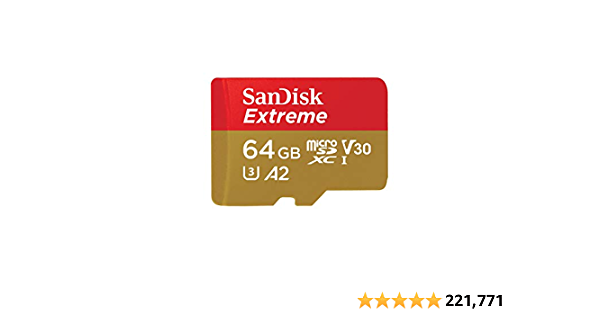 SanDisk Extreme 64 GB microSDXC Memory Card + SD Adapter with A2 App Performance + Rescue Pro Deluxe, Up to 160 MB/s, Class 10, UHS-I, U3, V30, Red/Gold