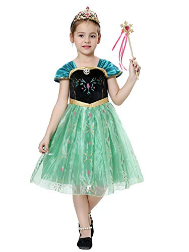 pretty princess Mädchen Kostüm Prinzessin Kostüme Snow Queen Party Outfit Cosplay 5-6 (Queen Outfit)