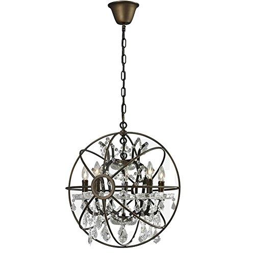 BJVB Alta - Grade Candele lampadari di cristallo da letto Soggiorno La forma del Globe (Acciaio Per Scale Ferroviaria)