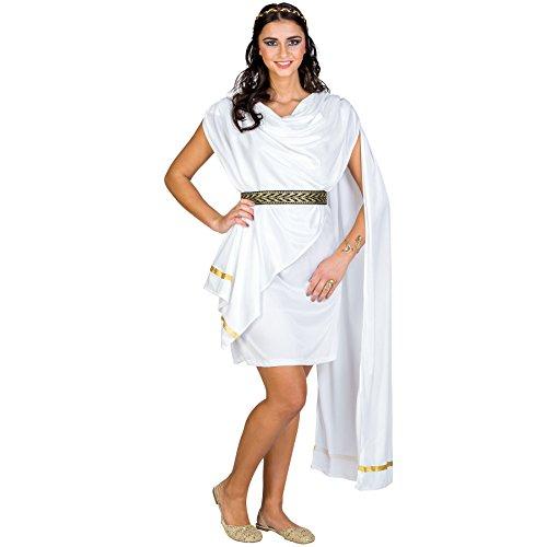 Frauenkostüm schöne Trojanerin | wundervolles, kurzes Kleid | angenähte Schärpe | inkl. Gürtel & Haarreifen (XXL | Nr. 300506) (Starke Frau Halloween Kostüm)