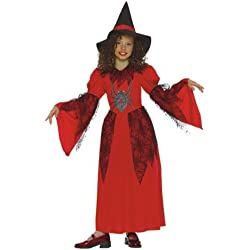 Disfraz de bruja para niña largo. Color rojo.