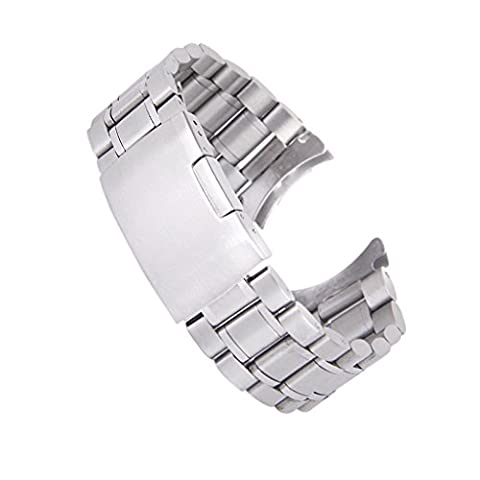 Solid Stainless Steel Links Watch Band Strap Curved End Deployment Buckle 20mm---Silver