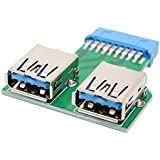 USB3.0 Motherboard Connector 19 Pin Header Connector to 2 USB3.0 Port Adapter Card