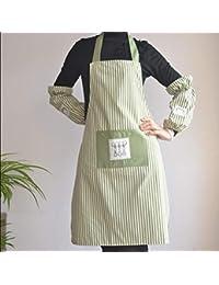 Hermoso delantal Sheng Best Quality, babero grande a rayas con bolsillo, material de algodón
