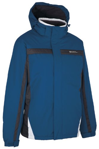 Mountain Warehouse Dusk Mens Ski Jacket - Water Resistant Rain Coat, Fleece Lining, Snow Skirt Mens Coat, Adjustable Hood & Cuffs - Ideal Ski Clothes In Cold Weather