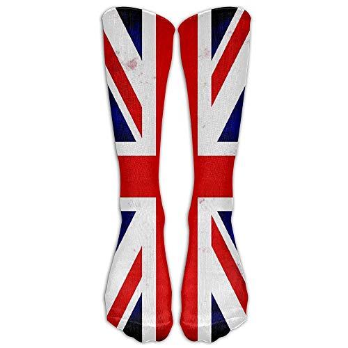 Nicegift Men's Women's Funny Union Jack British Flag UK Long Sock Athletic Calf High Crew Soccer Socks Sports 19.7 inch