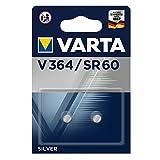VARTA V364, Sr60, SR621SWN, SR621, 364F, 364, 364101402, Batteria a Bottone, Ossido D'Argento, 1,55 Volts, 20mAh, Diametro 6,8 mm, Altezza 2,15 mm, Confezione 2 pile