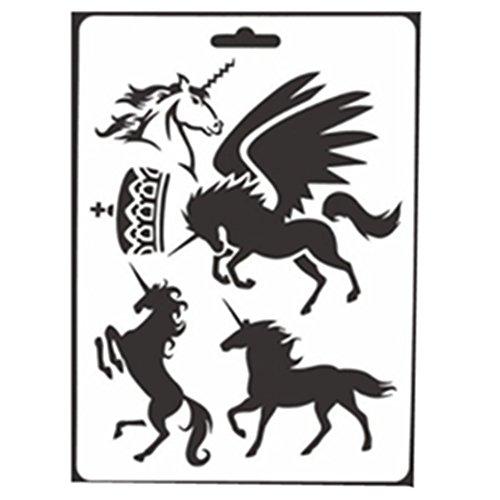 Buyby Schablonen für Kinder mit Einhorn-Motiven, für Tier-Zeichnungen, Scrapbooking, Album-Dekorationen