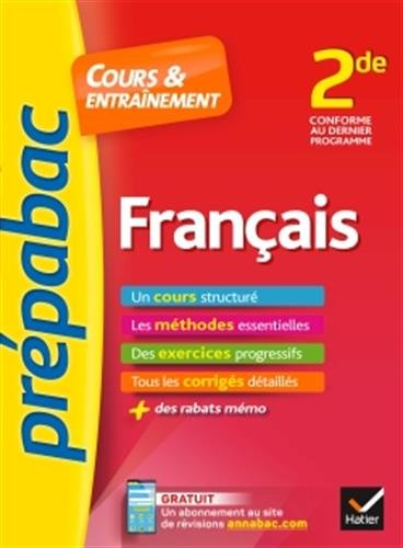 Français 2de - Prépabac Cours & entraînement: cours, méthodes et exercices progressifs (seconde) par Séverine Charon