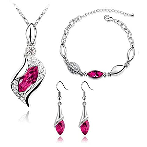 Necklace Earrings Bracelet Set,Clode®1Set Elegant Women Clothing Decoration Mother's Day New Gifts Elegant Luxury Design New Fashion Plated Colorful Crystal Drop Jewelry Sets (Hot Pink)