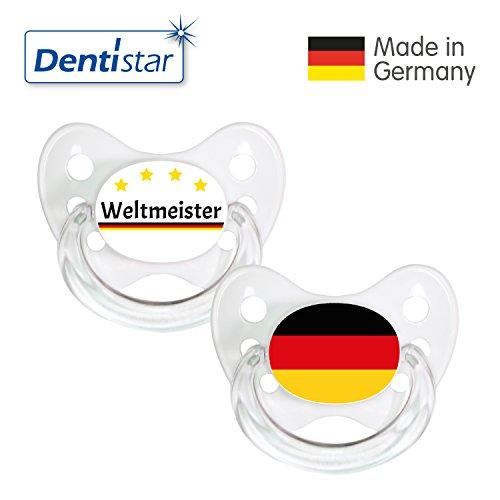 Preisvergleich Produktbild Dentistar® Silikon Schnuller 2er Set inkl. 2 Schutzkappen - Nuckel Größe 2, 6-14 Monate - Fussball Fan Kollektion – Weltmeister & Fahne