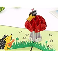 BC Worldwide Ltd a mano 3D pop up carta di San Valentino, amore di chitarra fungo riccio, compleanno, carta di anniversario di matrimonio