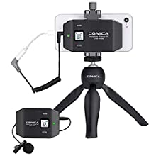 Comica CVM-WS50(C) Wireless SmartPhone Microphone,UHF 6-Channels Professional Wireless Lavalier Microphone with Tripod,194FT Wireless Range, Built-in Chargable Battery, for Iphone Samsung Huawei etc
