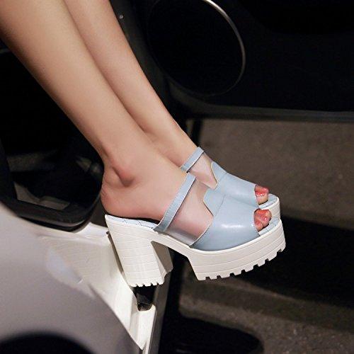 ZYUSHIZ Wasserdichte Desktop High-Heel Hausschuhe Mesh Frau coole Hausschuhe Bold High-Heel Outdoor Sandalen 37EU